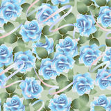 Blue roses pattern Stock Images