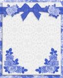 Blue roses wedding invitation stock image