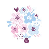 Blue and rosy color decorative floral element Royalty Free Stock Photos