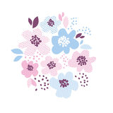 Blue and rosy color decorative floral element Stock Images