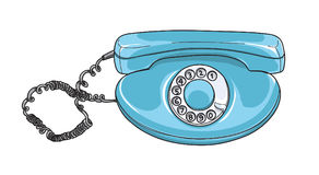 Blue rotary dial phone Vintage telephones Retro hand drawn   Stock Photo