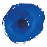 Blue rough watercolor circle spot banner. Isolated on white background Royalty Free Stock Image
