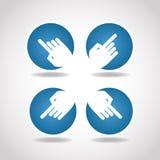 Blue round arrow hand diagonal Royalty Free Stock Photos