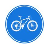 Blue Round Bicycle Lane Sign. 3d Rendering. Blue Round Bicycle Lane Sign on a white background. 3d Rendering Stock Image