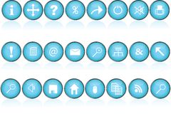 Blue round buttons with icons for pc Stock Image