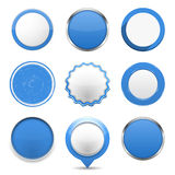 Blue Round Buttons Stock Photos