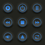 Blue round buttons for web player Stock Photos