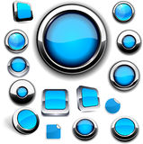 Blue round buttons on white. Stock Photo