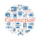 Blue round CONNECTION concept Stock Photography