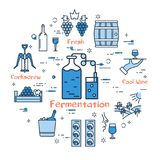 Blue round Fermentation concept. Vector linear blue round concept of Fermentation. Thin line icons of wine making, storage and bottles and glasses. Modern web Royalty Free Stock Image