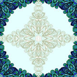Blue round floral frame Royalty Free Stock Photography