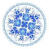Blue round floral ornament in Russian gzhel style, vector plate print template stock illustration