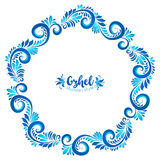 Blue round floral vector frame in Russian traditional Gzhel style Stock Images