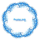 Blue round floral vector frame in Russian traditional Gzhel style Royalty Free Stock Images