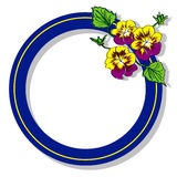 Blue round frame with flower pansy raster Royalty Free Stock Photos