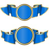 Blue round frame with ribbon Royalty Free Stock Images