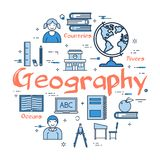 Blue round Geography concept. Vector linear blue round concept of Geography Subject. School lesson for children and education line icons of notes, globe, books Stock Photos