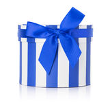 Blue round gift box isolated on the white background Stock Photos
