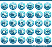 Blue round icons. A set of web icons Stock Photos