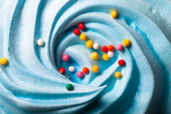 Blue round merengue on a stick Stock Images