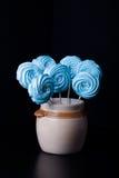 Blue round merengue on a stick Stock Photos