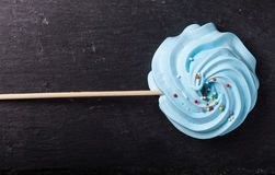 Blue round merengue on a stick Stock Photography
