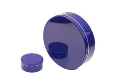 Blue round Metal Boxes Royalty Free Stock Photography