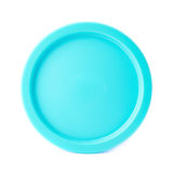 Blue round plastic cap isolated. Over the white background Stock Image