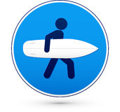 Blue round road sign with surfer Stock Image