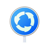 Blue round road sign with white arrows icon Royalty Free Stock Images