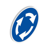 Blue round road sign with white arrows icon Royalty Free Stock Photos