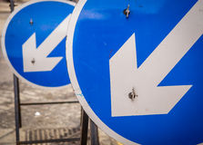 Blue round road signs Royalty Free Stock Photos