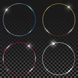 Blue round shining circles, rings set. Glow light effect collection on transparent background Stock Images