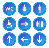 The blue round signs set to the toilet. Stock Images