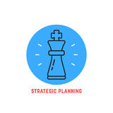 Blue round strategic planning logo. Concept of adversary, player, career, boss, leisure, goal, idea, power, attack, analysis. flat style modern logotype design Stock Photo