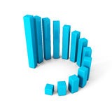 Blue round successful growing bar chart graph on white backgroun. D. 3d render illustration Royalty Free Stock Image