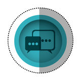 Blue round symbol square chat bubbles icon. Illustration design Royalty Free Stock Photography