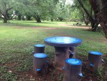Blue round table. In the park Royalty Free Stock Image