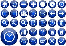 Blue round web button set Royalty Free Stock Photo