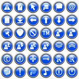 Blue Round Web Buttons [2]. 36 website and application round buttons isolated on white background. Each button is 750x750 pixels. Blue Round Web Buttons – Part Royalty Free Stock Photos