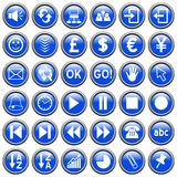 Blue Round Web Buttons [3]. 36 website and application round buttons isolated on white background. Each button is 750x750 pixels. Blue Round Web Buttons – Part Royalty Free Stock Photography
