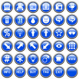 Blue Round Web Buttons [4]. 36 website and application round buttons isolated on white background. Each button is 750x750 pixels. Blue Round Web Buttons – Part Stock Images