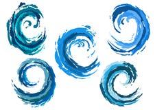 Blue rounded sea waves set Stock Photo
