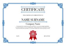 Blue rounded style certificate border with red stamp Royalty Free Stock Photo