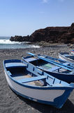 Blue rowboats on Lanzarote Royalty Free Stock Photography