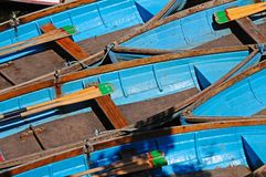 Blue rowing boats. Royalty Free Stock Photo