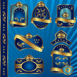 Blue royal labels blank. Set vector image of blue royal labels with crowns Royalty Free Stock Images