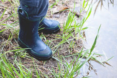 Blue Rubber Boots Royalty Free Stock Photo