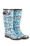 Blue rubber boots isolated Stock Image