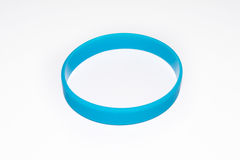 Blue rubber bracelet. Silicone fashion round social  wear Stock Photo